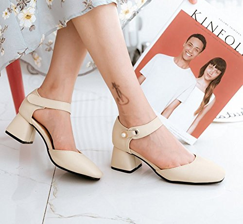 Carolbar Women's Fashion Solid Color Beaded Mid Heel Velcro Court Shoes apricot rpkxfoT