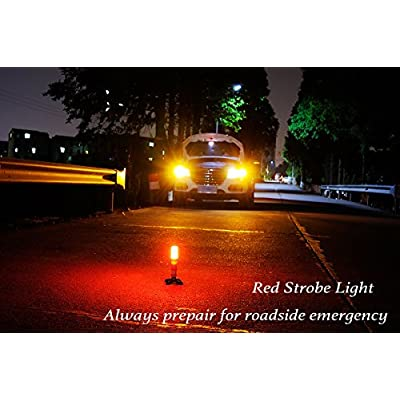 2 LED Emergency Road Flares Red Roadside Beacon Safety Strobe Light Warning Signal Alert Magnetic Base and Upright Stand in Solid Storage case for Car Marine Vehicles Trucks: Industrial & Scientific
