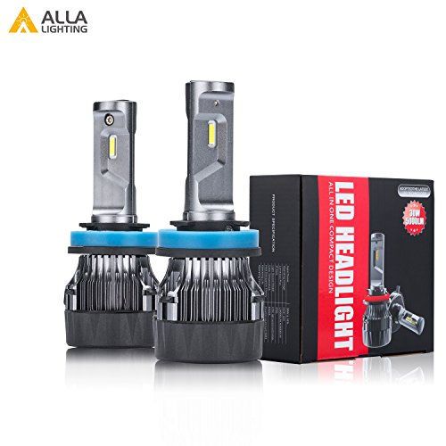 Alla Lighting S-HCR 2018 Newest Version 10000 Lumens Extremely Super Bright Cool White High Power SUPER Mini LED Headlight Bulb All-in-One Conversion Kits Headlamps Bulbs Lamps (H11 (H8, H9)) Crystal Petite Lamp