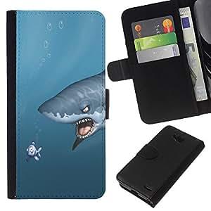 Stuss Case / Funda Carcasa PU de Cuero - Shark & Fish - Funny - LG OPTIMUS L90