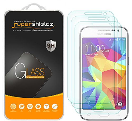 [3-Pack] Supershieldz for Samsung Galaxy Core Prime Tempered Glass Screen Protector, Anti-Scratch, Anti-Fingerprint, Bubble Free, Lifetime Replacement Warranty