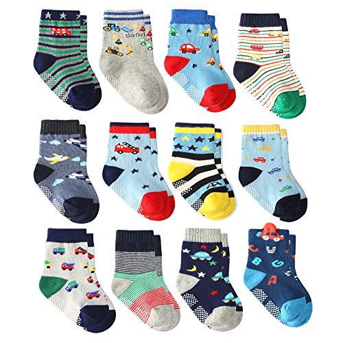 12 Pairs Toddler Boy Grips Socks, Baby Socks Boy Infant Cotton Crew Socks Anti Slip for Kids (3-5 Years, 12 Pairs Super Star) ()