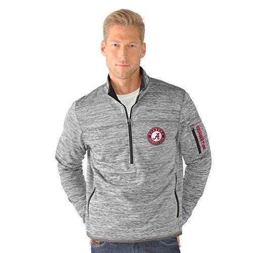 NCAA Alabama Crimson Tide Men's Fast Pace Half Zip Pullover Jacket, Small/Medium, Heather Grey