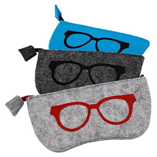 ZZ Sanity (3PCS) Zipper Portable Soft Case Eyesglasses Box Makeup Pouch Purse Bag - Sunglass Cases Soft