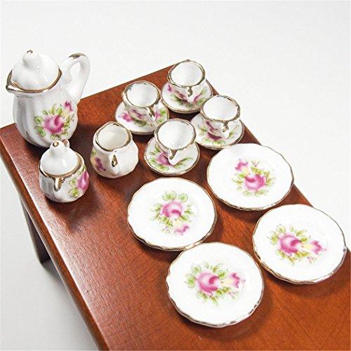 Miniature Porcelain Tea Set (Odoria 1:12 Miniature 15PCS Porcelain Tea Cup Set Pink Rose Chintz with Gold Trim Dollhouse Kitchen Accessories )