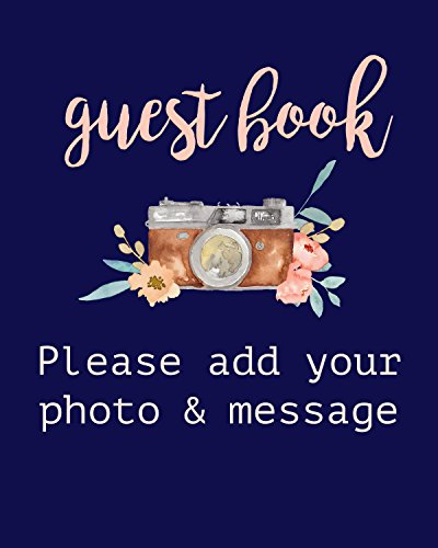 Modern Notebooks Guest Book Sign Photo Guest Book Sign 8 x 10 Print, Polaroid Guest Book Sign For Instax Guest Book Watercolor Art Print (Navy) by Modern Notebooks