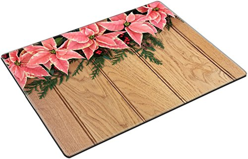 MSD Place Mat Non-Slip Natural Rubber Desk Pads Design: 30645473 Pink Poinsettia Flower Background Border with Holly and Christmas Greenery Over Oak Wood
