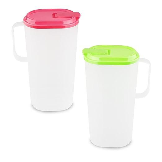 2 jarras de plástico con tapa para puerta de la nevera, para ...