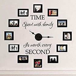MairGwall Time Spent with Family Is Worth Every Second - Family Lettering Vinyl Wall Decal - Without Clock and Picture Frame (Brown, Large)
