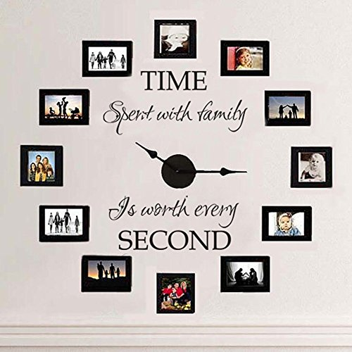 - MairGwall Time Spent with Family Is Worth Every Second - Family Lettering Vinyl Wall Decal - Without Clock and Picture Frame (Black, Small)