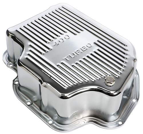 Trans-Dapt Performance 9106 Chrome Transmission Pan Turbo 400 Finned 4 in. Depth Extra Capacity Adds 2.5 Qts. Chrome Transmission Pan