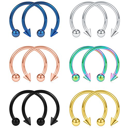 SCERRING 12PCS 316L Stainless Steel 16G Circular Barbells Eyebrow Lip Ear Tragus Horseshoe Hoop Rings With Balls & Spikes (Horseshoe Nipple)