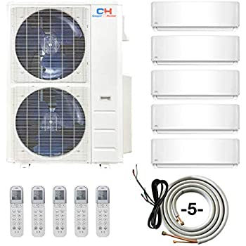 COOPER AND HUNTER Five 5 Zone Ductless Mini Split Air Conditioner Heat Pump 9000 9000 9000 12000 18000 Full Set WiFi