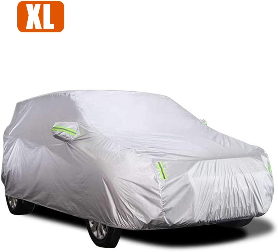 KKmoon Full Car Cover Sedan Snow Covers Sun Shade Protector Waterproof Car Cover Windproof with Reflective Strip Sunscreen Protection Dustproof UV Scratch-Resistant Universal S