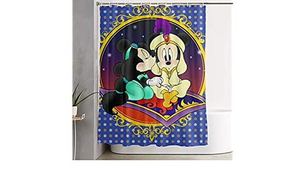Duwamesva Cortina de Ducha con dise/ño de Mickey Minnie 152 x 183 cm Tela de poli/éster con Ganchos