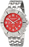 Akribos XXIV Men's AK767RD Multifunction Swiss Quartz Movement Watch with Red Dial and Silver tone Bracelet