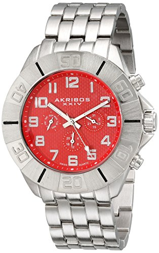 Akribos XXIV Men's AK767RD Multifunction Swiss Quartz Movement Watch with Red Dial and Silver tone Bracelet