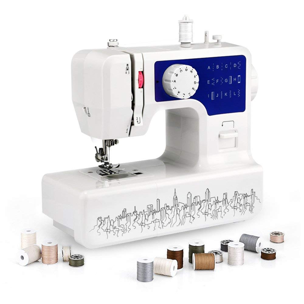 Heavy Duty Sewing Machine Bulit in 12 Stitches and 4-Step Buttonhole for Household Using, Adjustable Sewing Speed, Strong Motor, Automatic Needle Threader, Perfect Sewing All Types Fabrics Ease PAVLIT