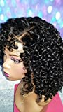 14 INCH HUMAN HAIR FULL LACE WIG BRAZILIAN REMY DEEP CURLY MEDIUM JET BLACK