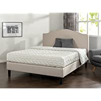 Zinus Paris Upholstered Scalloped Platform Bed with Wooden Slat Support, Full