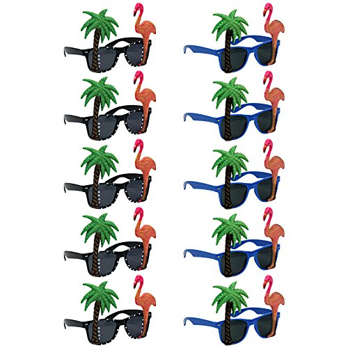 musykrafties Tropical Party Costume Sunglasses Fun Shades Flamingo and Plam Tree 10-Bundle -