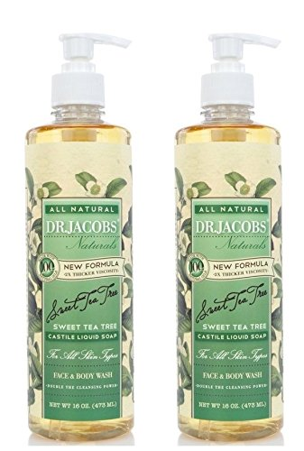 Dr. Jacobs Natural Face and Body Wash Sweet Tea Tree (Pack of 2) Natural Oils, New Formula, 2x Thicker Viscosity, All Skin Types and Double the Cleansing Power, 16 fl. oz. Each