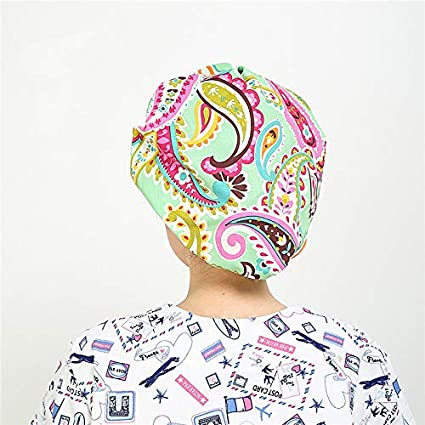 LTifree 1PC Womens Adjustable Bouffant Cap Cotton Hats for Long Hair Ladies with Sweatband