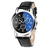YANG-YI Luxury Fashion Faux Leather Blue Ray Glass Quartz Analog Watches Mens #1