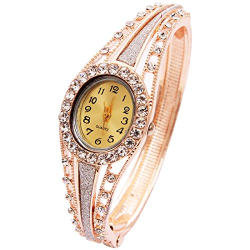 Wrist Watch for Female Pearl Gold Bangle Wrap Watch