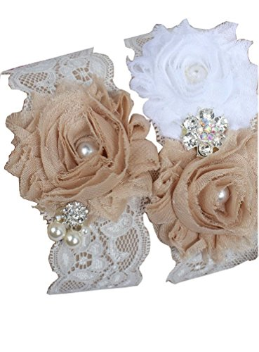Miranda's Bridal Women's Lace Floral Bridal Garters Wedding Garters with Rhinestone and Pearl Champagne 2 L (Champagne Lace Bridal Shop)