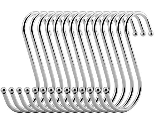 VIPITH 30 Pack Stainless Steel Metal S Shaped Hooks Heavy-duty S Hanging Hooks Hangers with Ball Ends for Spoon Pan Pot Towel in Kitchen Bedroom Bathroom Office