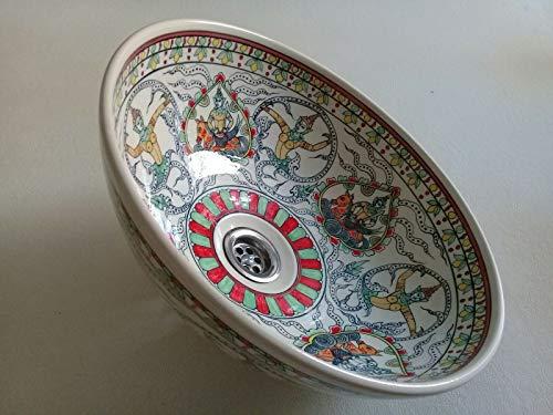 Hand painted porcelain wash basin. Thailand style mystical scene.