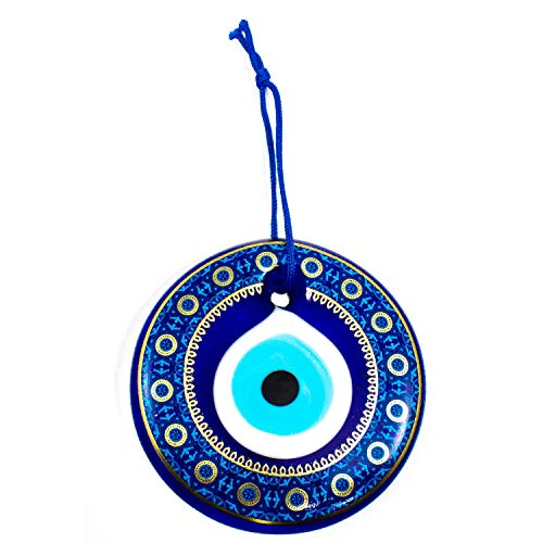 Erbulus Turkish Glass Evil Eye Wall Hanging Gold Flower Pattern Ornament - Home Protection Charm - Wall Decor Amulet