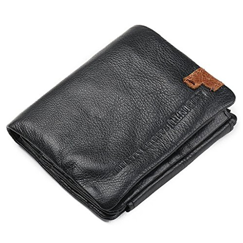 Prime Clearance Sale & Deals Day 2017-Fashion Style Trifold Wallets Genuine Leather Men Wallets Man Credit Card Holder Zipper Coin Pocket Purse (Short B) by Valentoria