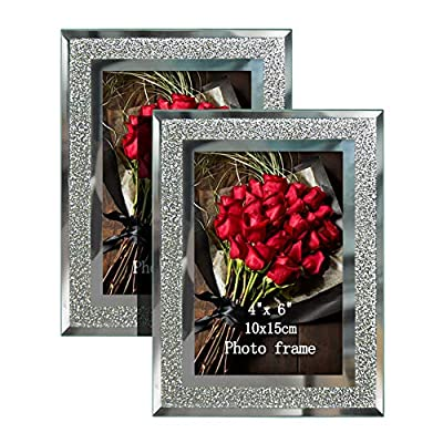 Calenzana 4x6 Picture Frames Sparkle Glass Photo Frame Set for Tabletop, 2 Pack - MATERIAL. Made of mirror glass gives a good perspective of your treasured photos. It protect your pictures from dust, moisture, tearing and more. It's also easy to clean. ATTRACTIVE DESIGN. Sparkle glass picture frames accented with beveled cut and silver border, it will draw eyes to the photo and makes an effective display. VERSATILE AND FLEXIBLE. Photos can be added or changed easily with turning button at the rear. Photo frames can be placed in portrait or landscape orientation. - picture-frames, bedroom-decor, bedroom - 51b W9PnETL. SS400  -