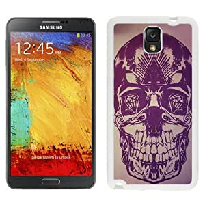 Fashionable Custom Designed Samsung Galaxy Note 3 N900A N900V N900P N900T Phone Case With Skull Artwork Purple Illustration_White Phone Case