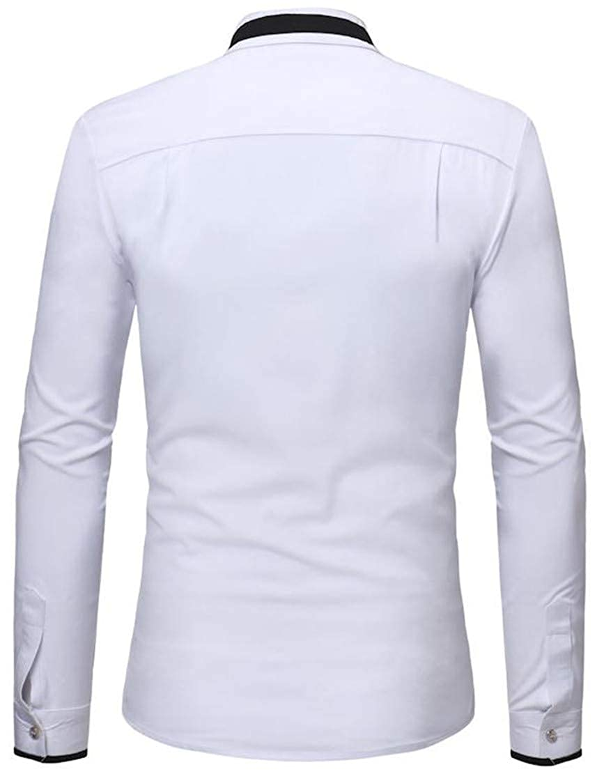 Blyent Men Long Sleeve Contrast Color Stand Collar Casual Button Down Shirts