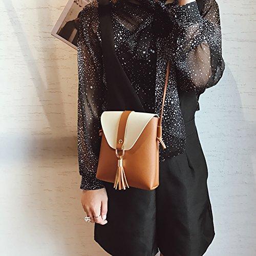 Across Women Cosmetic Yiitay For Lady Women's A2 Storage Bag Bag Body Bag Shoulder Handbags Body Tassel Leather Cross Wallet Bag qTqw8pFB