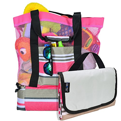 Breezy Convenient Mesh Beach Tote Bag with Lightweight Fold-Up 5'x6' Beach Blanket Mat, Solid Zipper Pocket, Zip Top Closure, Comfort Grip Carry Straps and Built-In Picnic Cooler Bottom (Pink) ()