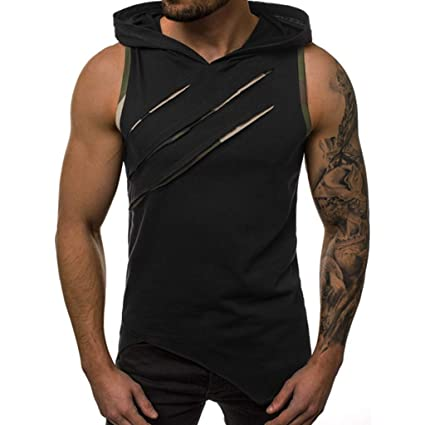 1942c0cd Amazon.com: Mens Hollow Workout Hooded Tank Tops Sleeveless Gym ...