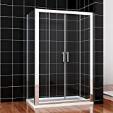 1500x760mm Sliding Shower Enclosure Screen Glass Cubicle Double Door+Side Panel by sunny showers