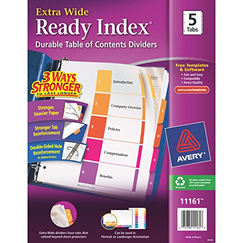 Avery(R) ExtraWide™ Ready Index(R) Table Of Contents Dividers, 1-5 Tabs, Multicolor