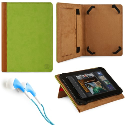 Protective Leatherette Carrying Case (Green) for Maylong Mobility M-250 / Maylong Mobility M-290 7-inch Tablet/e-Reader + Blue Stereo HiFi Noise Isolating Premium Headphones with Silicone Ear Tips