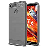 Huawei Honor 7X case, Yuanling [Shock Resistant] Carbon Fiber Soft TPU Brushed Texture Phone case Anti-fingerprint Flexible Full-body Protective Cover For Huawei Honor 7X smartphone (Grey)