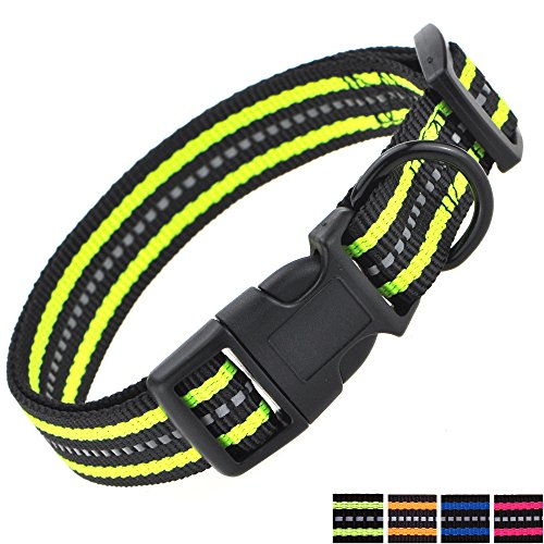Picture of Mile High Life Night Reflective Double Bands Nylon Dog Collar (Lime Green, Small Neck 12