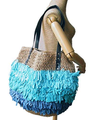CL original handarbeit aus rattan - umhängetasche art leinwand - bettwäsche aus mais hülle tasche umhängetasche handtasche (Color 22)
