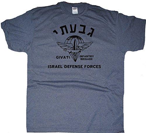 (Got-Tee Givati Brigade Israel Army Military T-Shirt (M, Denim Heather))