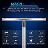 Vacnite LED Torchiere Floor Lamp, Smart-Touch-Dimming,36-Watt, 71-Inch, Super Bright Warm White for Bedroom Living Room Office - Simple Streamlining Silver