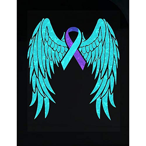Suicide Awareness - Angel Wings Ribbon - Hope Faith Courage Strength - Transparent Sticker