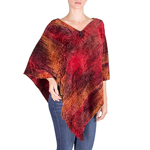 NOVICA Red Cotton Blend Hand Loomed Poncho, Ruby Tradition'